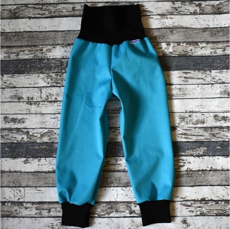 e32ba5b2dae8 Softshellové kalhoty Yháček vel. 104 (JARNÍ PODZIMNÍ) - TYRKYSOVÉ (černá)  empty