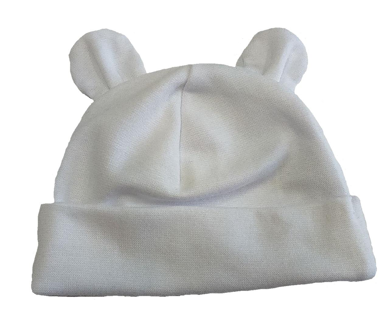 dfd570828eb Kojenecká čepička Yetty vel. 2 (39 - 41 cm) - bílá s oušky empty
