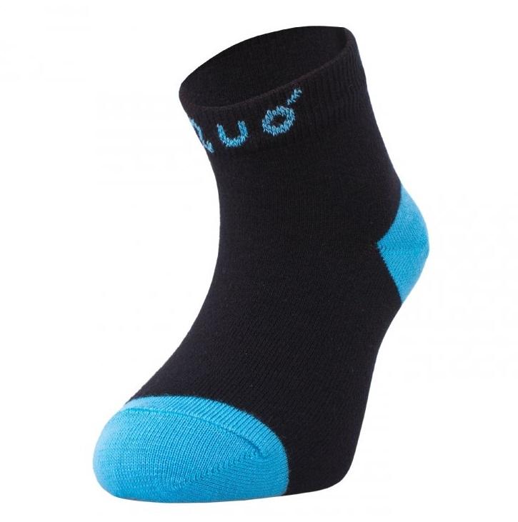 ffb9b6cbc8d Bambusové ponožky UNUO vel. 19-22 kotníčkové - ČERNÉ S TYRKYSOVOU empty